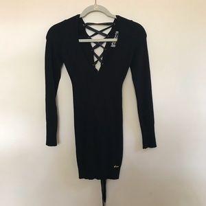 Guess Jeans Long Sleeve Lace Up Back Dress sz XS